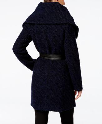 Cole Haan Faux-Leather-Trim Asymmetrical Bouclé Coat