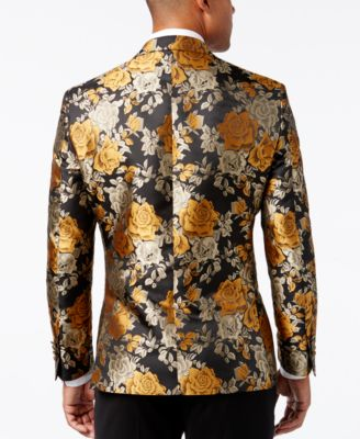 Tallia Mens Slim-Fit Black and Gold Fl..