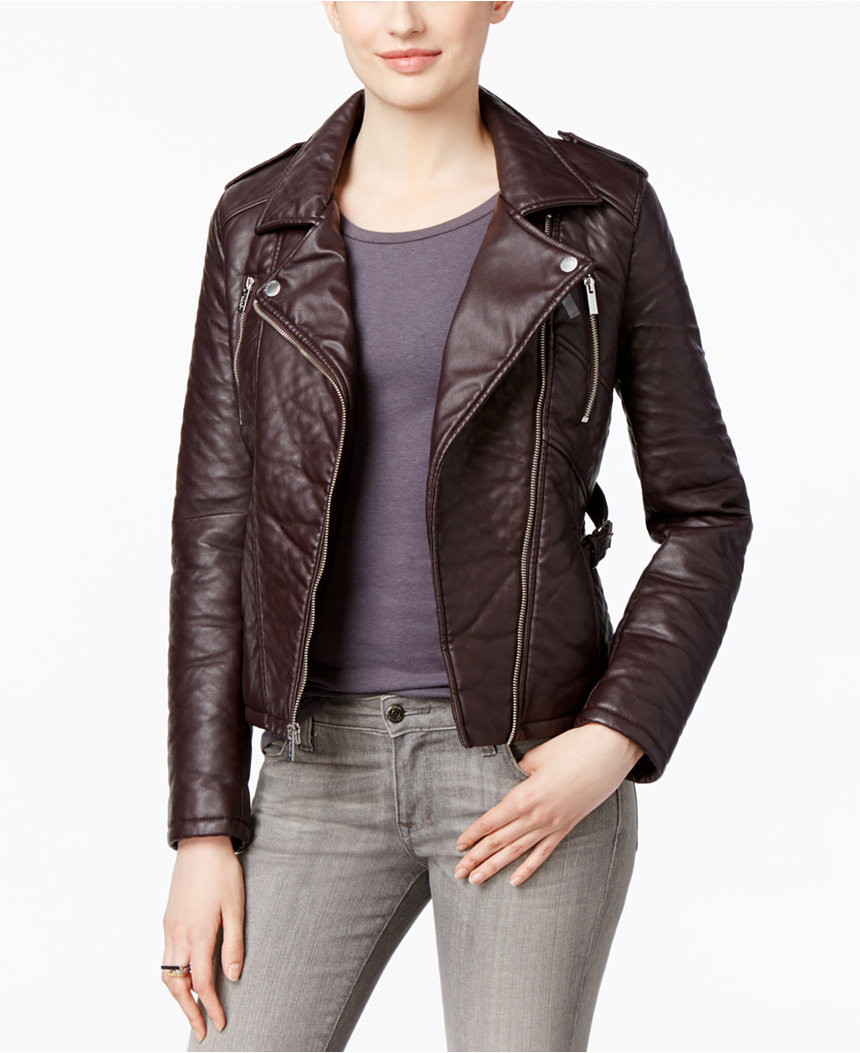 rachel roy faux-leather motorcycle jacket
