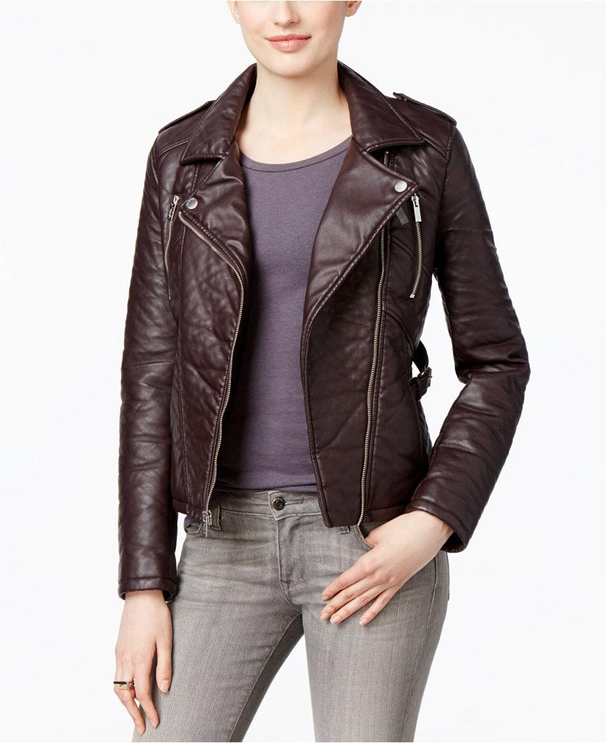 rachel roy faux-leather motorcycle jacket