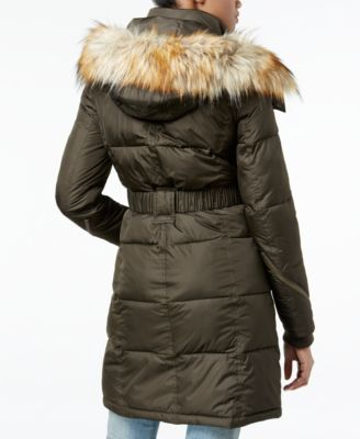 RACHEL Rachel Roy Hooded Faux-Fur Trim Quilted Puffer Coat