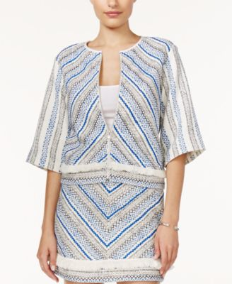 GUESS Tala Three-Quarter-Sleeve Embroidered Jacket