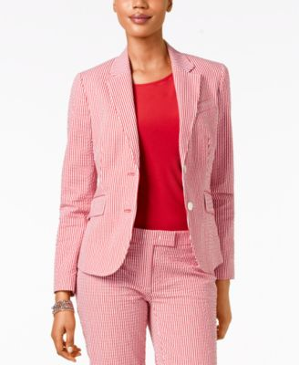 Anne Klein Seersucker Two-Button Jacket