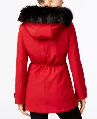 Calvin Klein Petite Faux-Fur-Trim Anorak