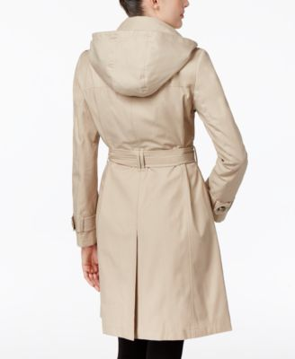 London Fog Petite Hooded All-Weather Trench Coat