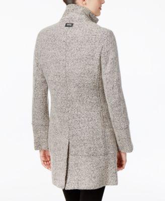 Calvin Klein Faux Leather-Trim Boucle Walker Coat