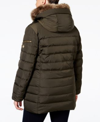MICHAEL Michael Kors Plus Size Faux-Fur-Trim Down Puffer Coat