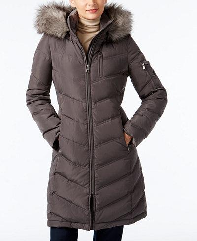 Calvin Klein Petite Faux Fur Trim Hooded Down Puffer Coat