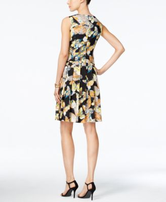 Nine West Butterfly-Print A-Line Dress