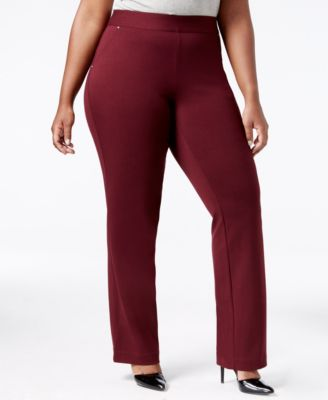 INC International Concepts Plus Size Pull-On Straight-Leg Pants, Only at Macy's