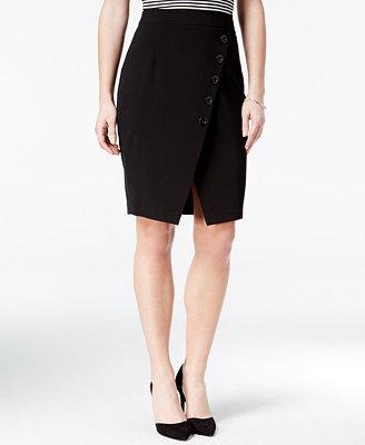 bcx juniors asymmetrical button trim pencil skirt
