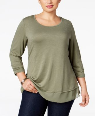 Style & Co. Plus Size Chiffon-Hem Top, Only at Macy's
