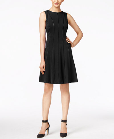 Calvin Klein Petite Piped Fit Amp Flare Dress Dresses