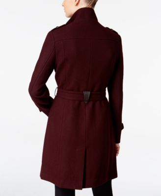 Cole Haan Faux-Leather-Trim Belted Walker Coat