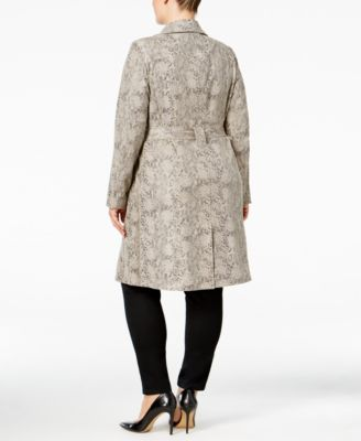 INC International Concepts Plus Size Snake-Print Trench Coat