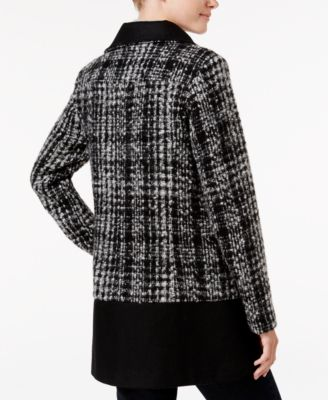Bar III Asymmetrical Plaid Walker Coat