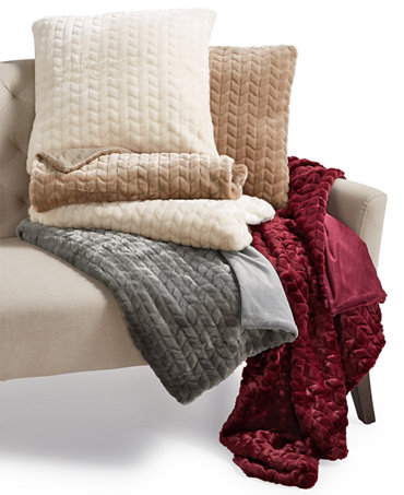 Martha Stewart Collection Quilted Faux Fur Throw And