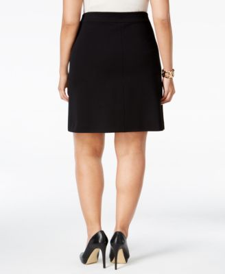 Alfani Plus Size Zip-Trim A-Line Skirt