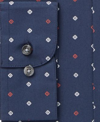 Bar III Mens Slim-Fit Navy Geo-Print D..