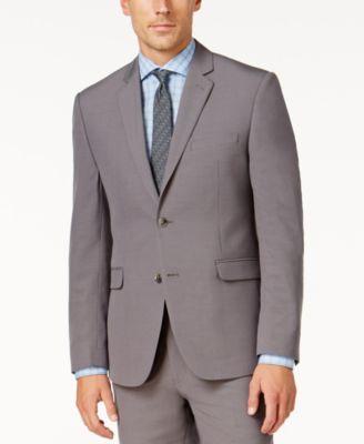 Perry Ellis Portfolio Mens Slim-Fit Gray Sharkskin Suit