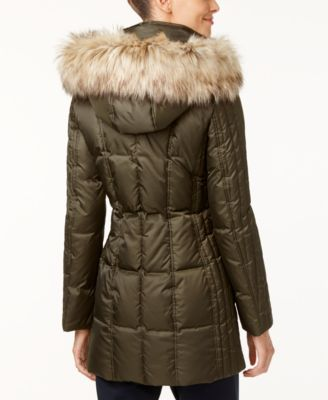 INC International Concepts Faux-Fur-Trim Quilted Puffer Coat