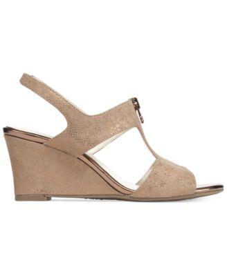 Anne Klein Edan Zip-Up Wedge Sandals