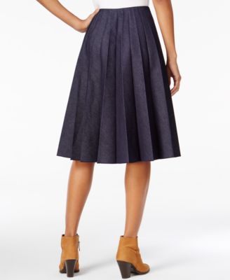 Maison Jules Pleated Denim Skirt