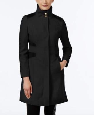Via Spiga Petite Faux-Leather-Trim Wool-Blend Walker Coat Image
