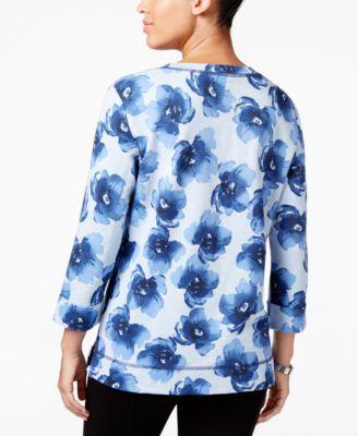 Karen Scott Floral-Print Sweatshirt