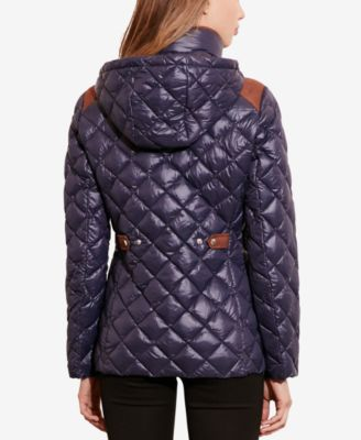 Lauren Ralph Lauren Faux-Suede-Trim Packable Puffer Coat
