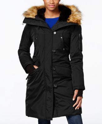 S13 Faux-Fur-Trim Hooded Down Parka