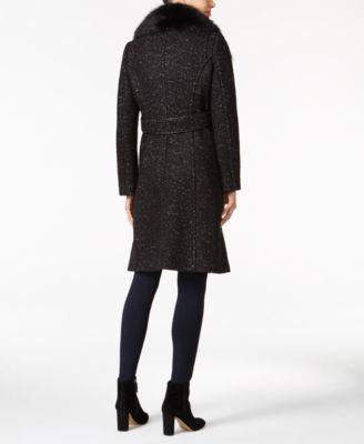 Elie Tahari Raccoon-Fur-Trim Bouclé Walker Coat Image