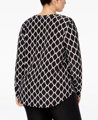 INC International Concepts Plus Size Printed Zip-Pocket Shirt