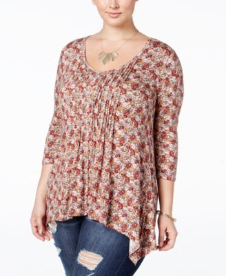American Rag Trendy Plus Size Floral-Print Top, Only at Macy's
