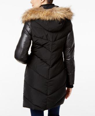RUD styled by RUDSAK Asiatic-Raccoon-Fur-Trim Mix-Media Puffer Coat