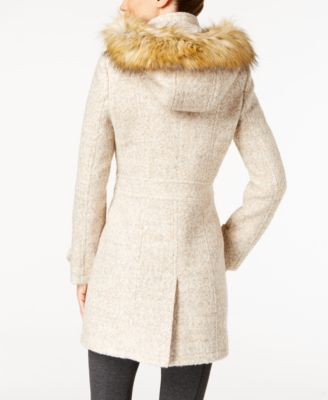Ivanka Trump Faux-Fur-Trim Buckled Coat