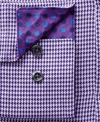 Michelsons Mens Plum Slim-Fit Houndstooth Dress Shirt