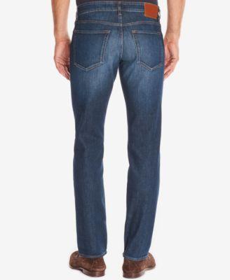 BOSS Mens Regular/Classic-Fit Dark Wash Whiskered Jeans
