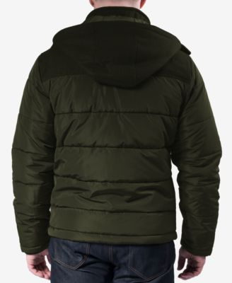 Hawke & Co. Outfitter Mens Quilted Mixed-Media Puffer Jacket
