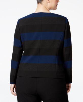 Tahari ASL Plus Size Striped Blazer