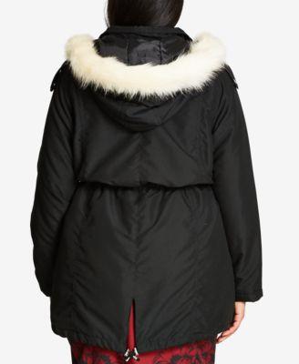 City Chic Trendy Plus Size Faux-Fur-Trim Anorak
