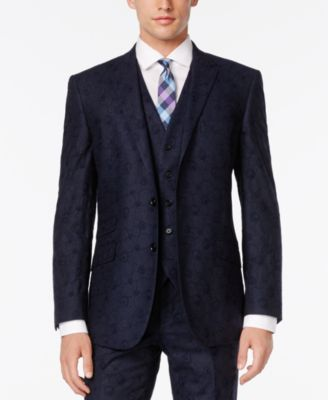 English Laundry Mens Blue Embroidered Swirl Vested Slim-Fit Suit