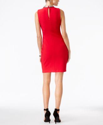 GUESS Embellished Keyhole Sheath Dress