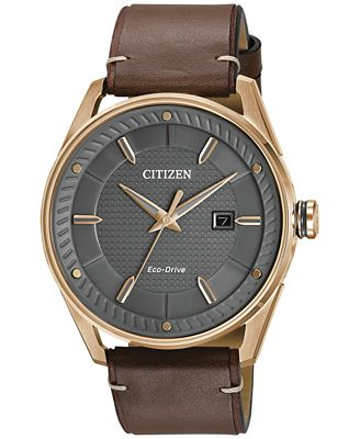 citizen s drive brown leather 42mm bm6983