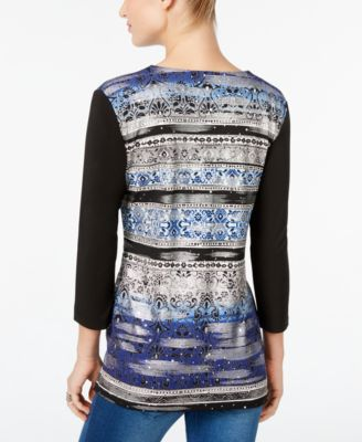 JM Collection Petite Printed Zip-Front..