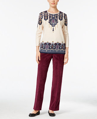 Alfred dunner printed sweater corduroy pants women for Alfred dunner wedding dresses