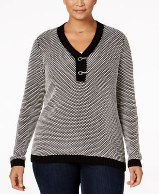 Charter Club Plus Size Henley Sweater, Only at Macy's