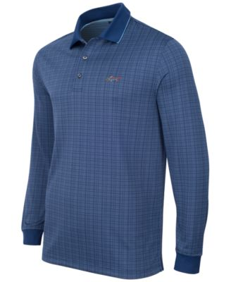 Greg Norman for Tasso Elba Mens Big & Tall Long-Sleeve Dotted-Grid Polo