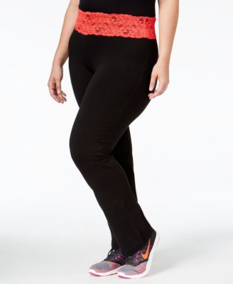 Material Girl Active Plus Size Lace-Trim Yoga Pants, Only at Macy's