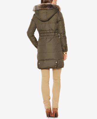 Lauren Ralph Lauren Petite Faux-Fur-Trim Hooded Down Coat